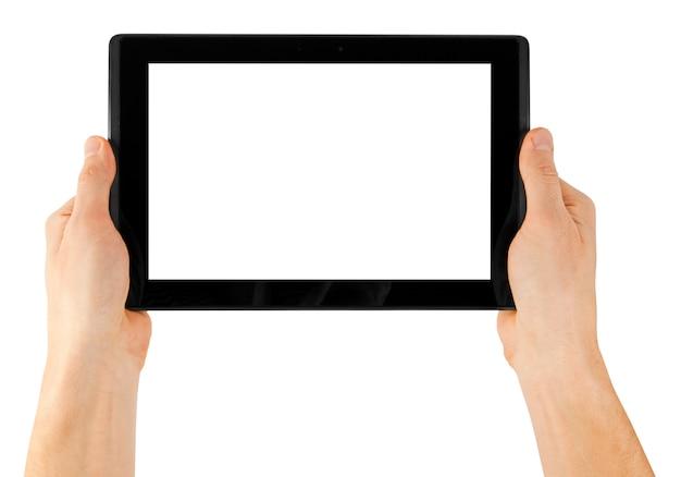 Tablette Sur Une Surface Blanche Photo Premium