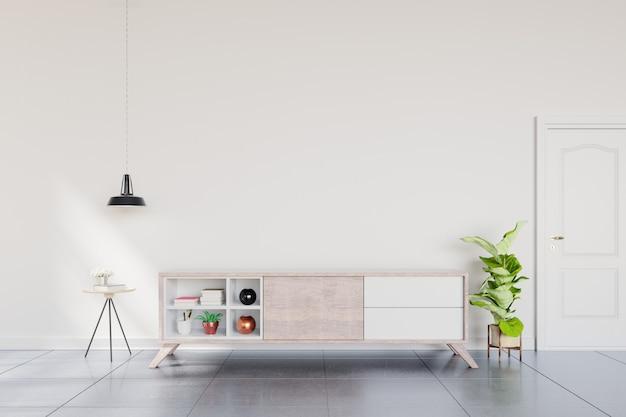 Tablette tv dans une salle vide moderne, design minimaliste. Photo Premium