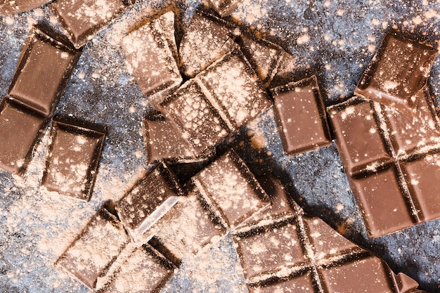 Tablettes De Chocolat Noir Couvertes De Cacao Photo gratuit