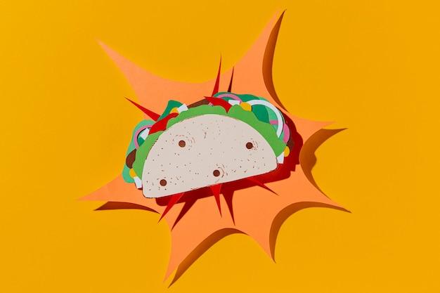 Taco Papier Vue De Dessus Sur Fond Jaune Photo gratuit