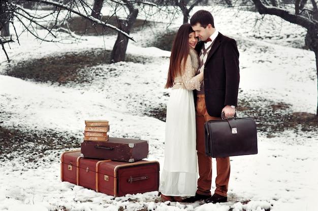 Tailor Snow Wedding Park Cold Photo Premium