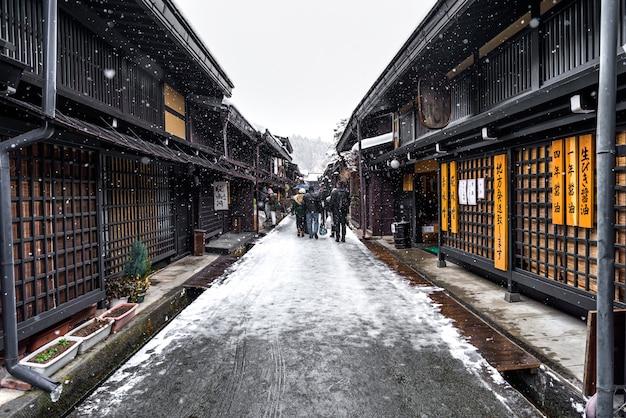 Takayama Hiver Et Vieille Rue Photo Premium