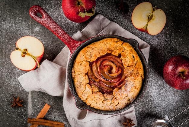 Tarte Maison Aux Galettes De Pommes Entières Avec Pommes Biologiques Et Cannelle Photo Premium