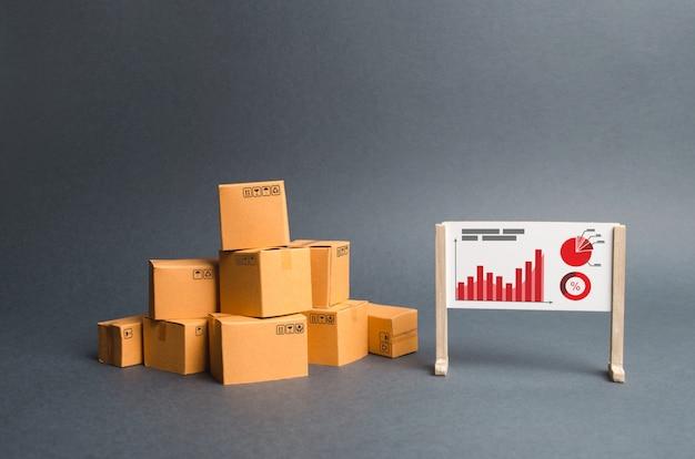 Un tas de boîtes en carton et un stand avec des informations et des graphiques statistiques. rapport sur le taux Photo Premium