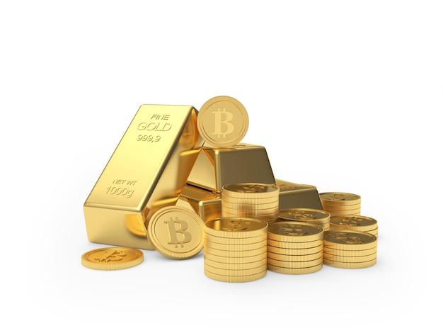Tas De Pièces De Monnaie Bitcoin Et Lingots D'or Photo Premium