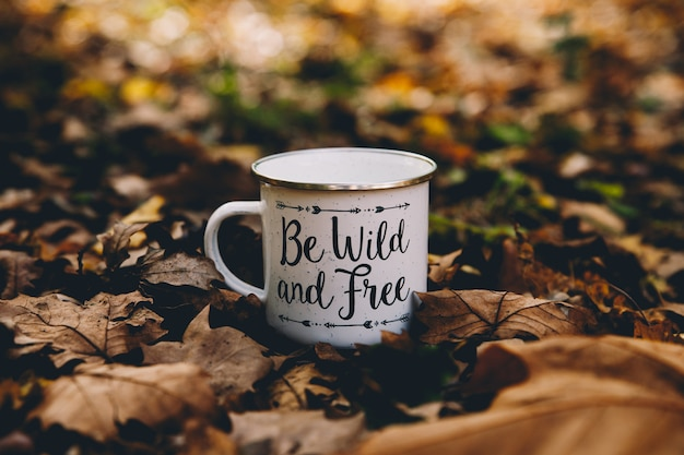 Tasse de café isolé au milieu du sol dans une forêt d'automne avec fond de feuilles mortes Photo Premium
