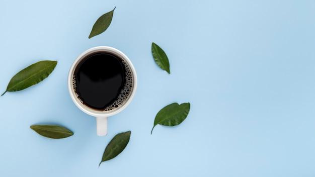 Tasse De Café à Plat Et Feuilles Avec Copie-espace Photo gratuit