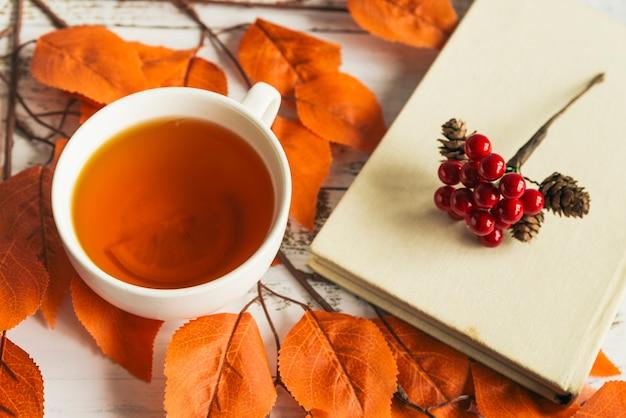 Tasse avec thé au citron et livre Photo gratuit