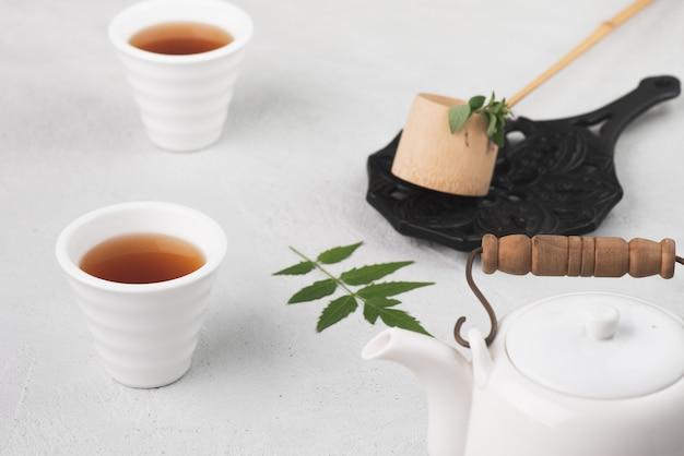 Tasse à Thé Avec Théière Fond De Nourriture Photo Premium
