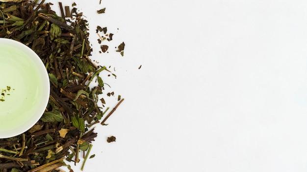 Tasse de thé vue de dessus avec des feuilles Photo gratuit