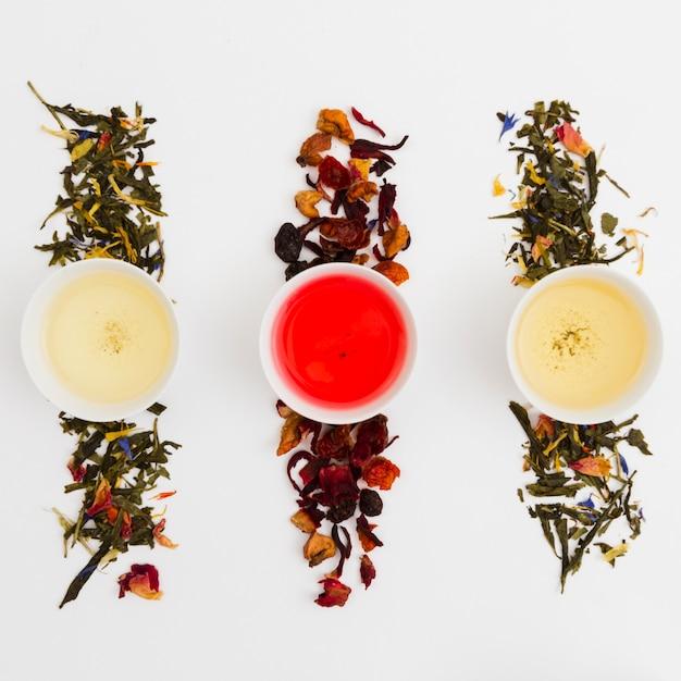 Tasses de thé vue de dessus Photo gratuit