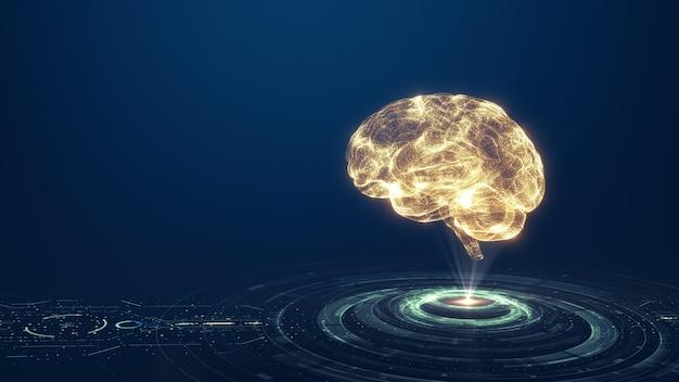 Technologie Intelligence Artificielle (ai) Cerveau Animation Concept De Données Numériques. Analyse Des Flux De Données Volumineuses. Technologies Modernes D'apprentissage En Profondeur. Innovation Technologique Futuriste En Cyber. Réseau Numérique Rapide. Photo Premium