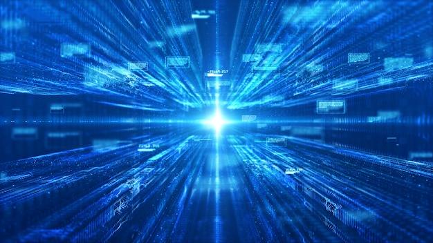 Technologie matrice numérique et abstrait lumière Photo Premium