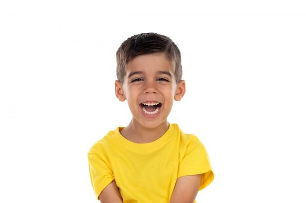 Tee-shirt heureux enfant noir avec jaune Photo Premium