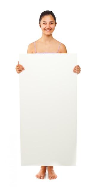 Teen fille tenant un tableau blanc Photo Premium