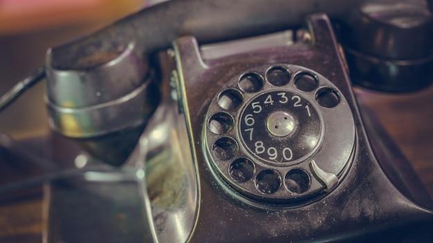 Téléphone De Bureau Noir Antique Photo Premium