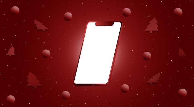 Téléphone Avec Un écran Vide Et Des Boules Et Des Arbres En 3d. Rendu 3d De Conception Joyeux Noël Photo Premium