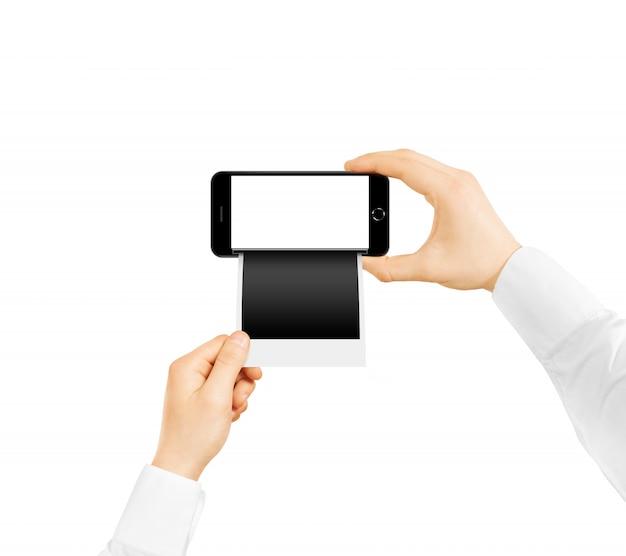 Téléphone portable avec impression photo instantanée Photo Premium