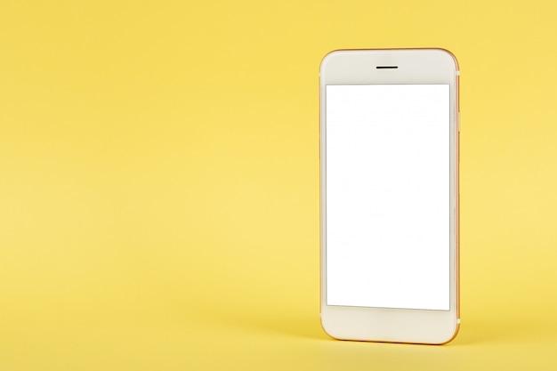 Téléphone portable, maquette, espace copie, sur, jaune, fond Photo Premium