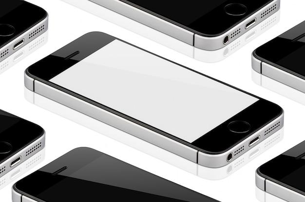 Téléphone portable noir isolé. Photo Premium