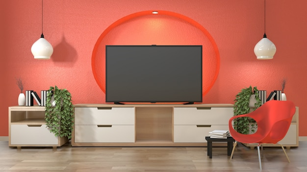 Télévision Dans La Chambre Japonaise Avec Décoration Sur La ...