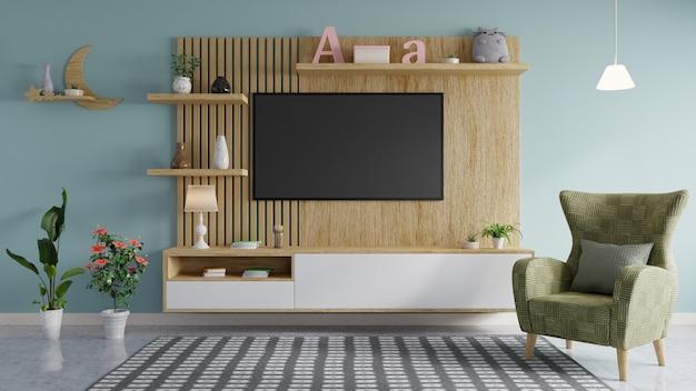 La Télévision Est Montée Sur Le Mur En Bois Dans Le Salon élégamment Décoré, Avec Un Canapé Vert Photo Premium
