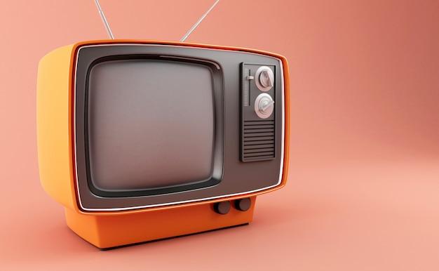 Télévision Rétro 3d Photo Premium