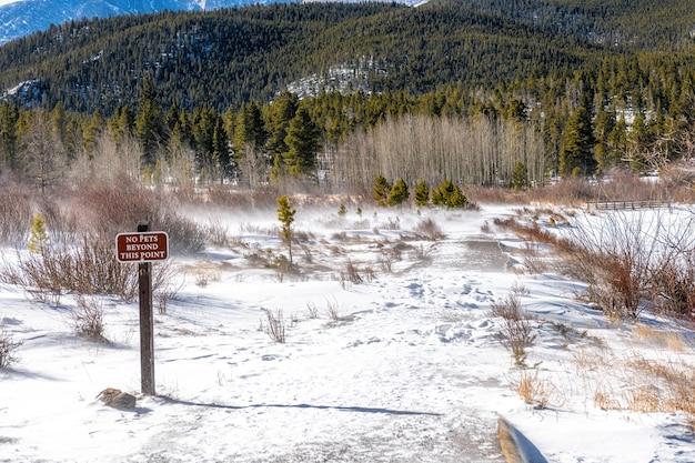 Temps D'hiver Venteux Avec De La Neige à Rocky Mountains National Park, Colorado, Usa Photo Premium