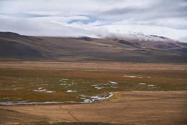 Temps nuageux et froid dans la steppe. le plateau d'ukok de l'altaï. paysages froids fabuleux Photo Premium
