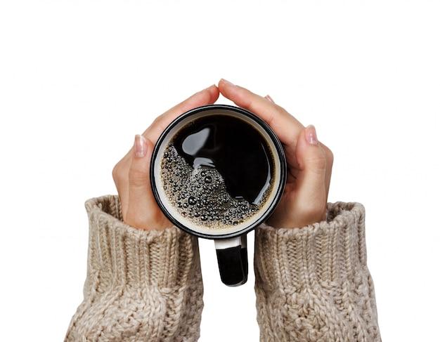 Tenue femme, tasse, café chaud, isolé, blanc Photo Premium