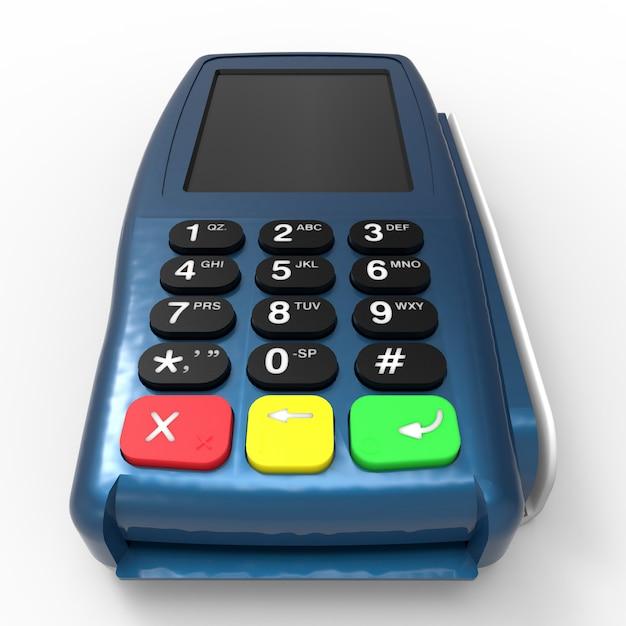 Terminal de paiement par carte. terminal de point de vente isolé sur fond blanc Photo Premium