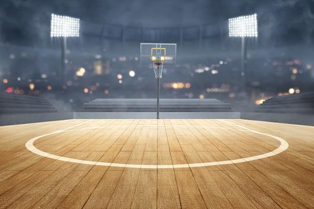 Terrain de basket avec plancher en bois, réflecteurs de lumière et tribune Photo Premium