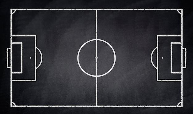 Terrain de football dessiné sur un tableau noir, Photo gratuit