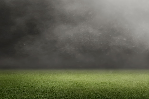 Terrain de football avec de l'herbe verte Photo Premium