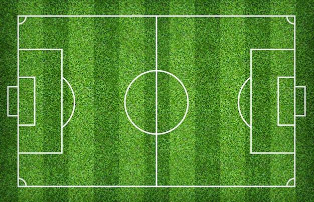 Terrain de football ou terrain de soccer pour le fond. cour de pelouse verte pour créer un jeu. Photo Premium