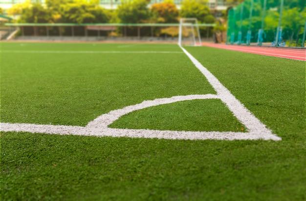 Terrain de soccer ou de football avec ligne blanche Photo Premium