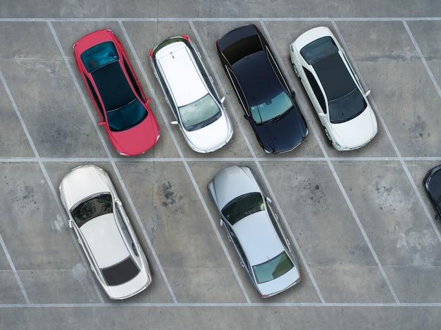 Terrains de stationnement vides, vue aérienne. Photo Premium