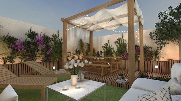Terrasse Avec Gazebo Et Espace Détente Pour Bronzer Photo Premium