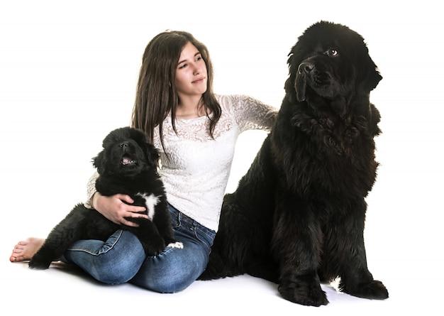 Terre-neuve chiens et adolescents Photo Premium