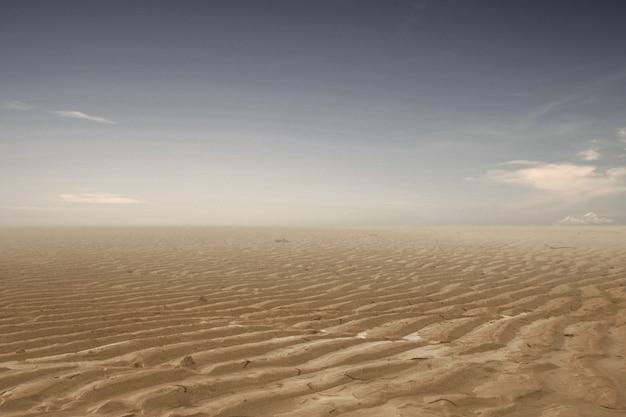 Terre De Sécheresse Avec Un Fond De Ciel Sombre. Concept De Changement D'environnement Photo Premium