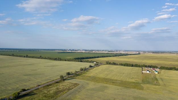 Terres Agricoles D'en Haut - Image Aérienne D'un Vert Luxuriant Déposé Photo Premium