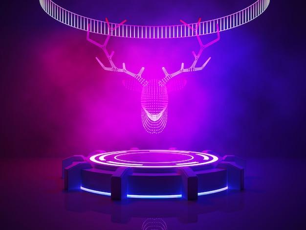 Tête de renne néon sur scène avec fumée et lumière violette, noël et bonne année Photo Premium