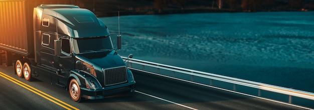 En-têtes de camion en cours d'exécution. Photo Premium