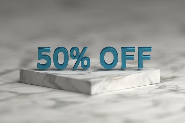 Texte métallique bleu brillant 50 pour cent signe. vente 50% de rabais sur les chiffres et le texte sur le socle en marbre. Photo Premium