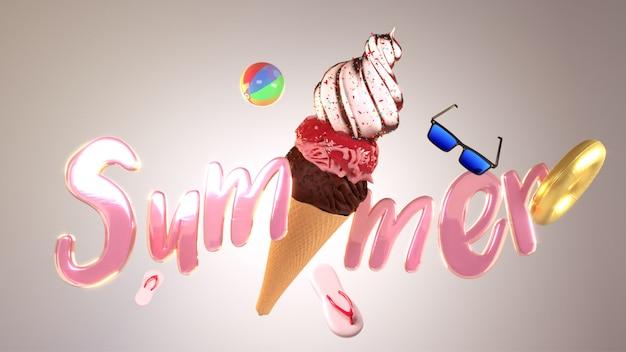 Texte rose brillant été avec cornet de crème glacée et bea Photo Premium