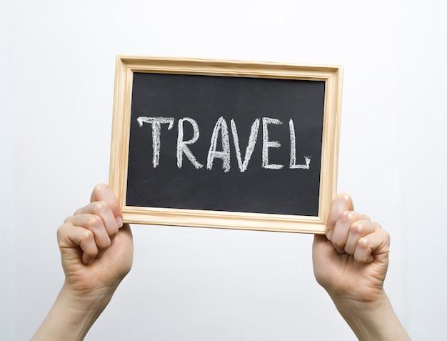 Texte De Voyage Concept Sur La Photo Dans Le Cadre. Photo Premium