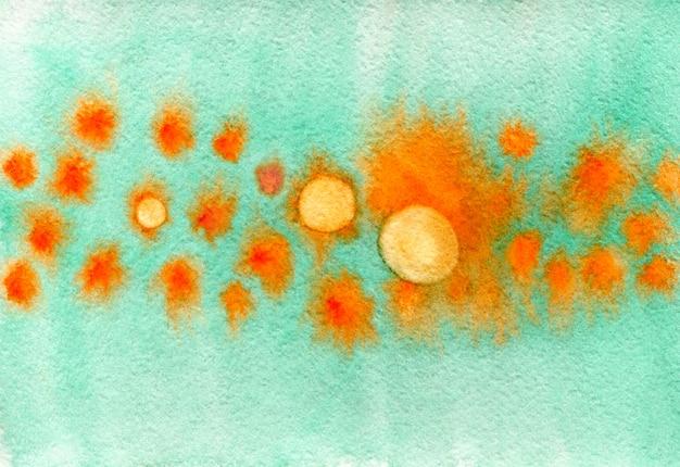Texture aquarelle unique avec des cercles. aquarelle abstrait aux couleurs orange et turquoise. fond élégant pour pancarte ou carte postale. Photo Premium