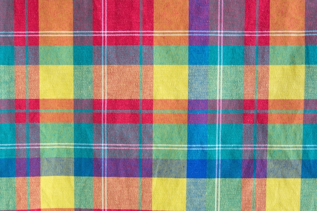 Texture à carreaux tissu coloré. fond de tissu Photo Premium