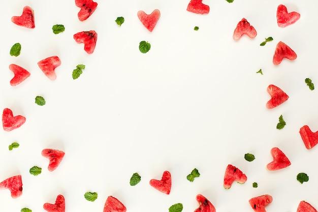 Texture De Coeur De Pastèque Photo Premium