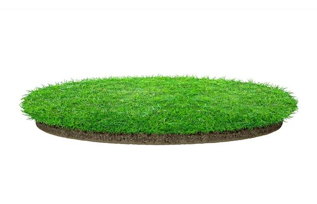 Texture d'herbe verte abstraite. cercle d'herbe verte isolée Photo Premium